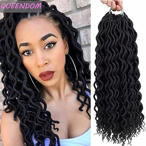 Faux Locs Crochet Hair Ombre Wavy Braiding Hair Extensions Synthetic Curly Dreadlocks Crochet Braids for Women Burgundy Blonde