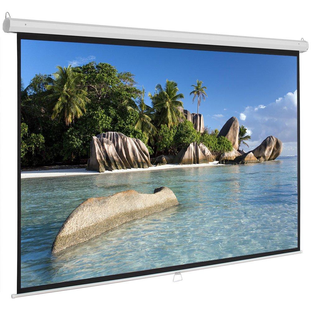 شاشة عرض يدوية قابلة للسحب 60 72 84 100 بوصة 4:3 HD عريضة شاشة عرض محمولة قابلة للسحب تلقائية القفل