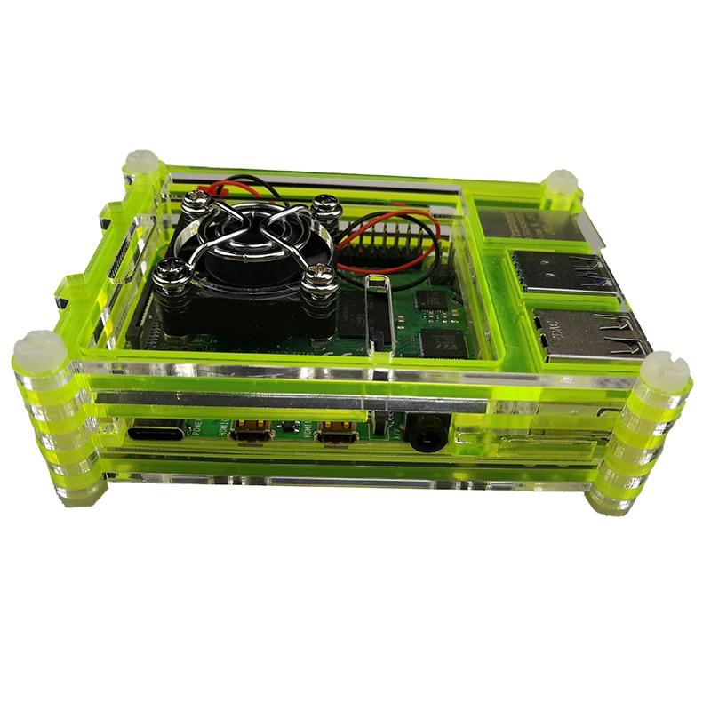 raspberry pi 4 model b acrylic case with cooling fan 32gb sd card 5v 3a power heatsink hdmi for raspberry pi 4b Raspberry Pi 4 Case Pi 4 B Case with Cooling Fan, Raspberry Pi 4 Heatsink  Acrylic Case  for Raspberry Pi 4 Model B/Pi 4 B