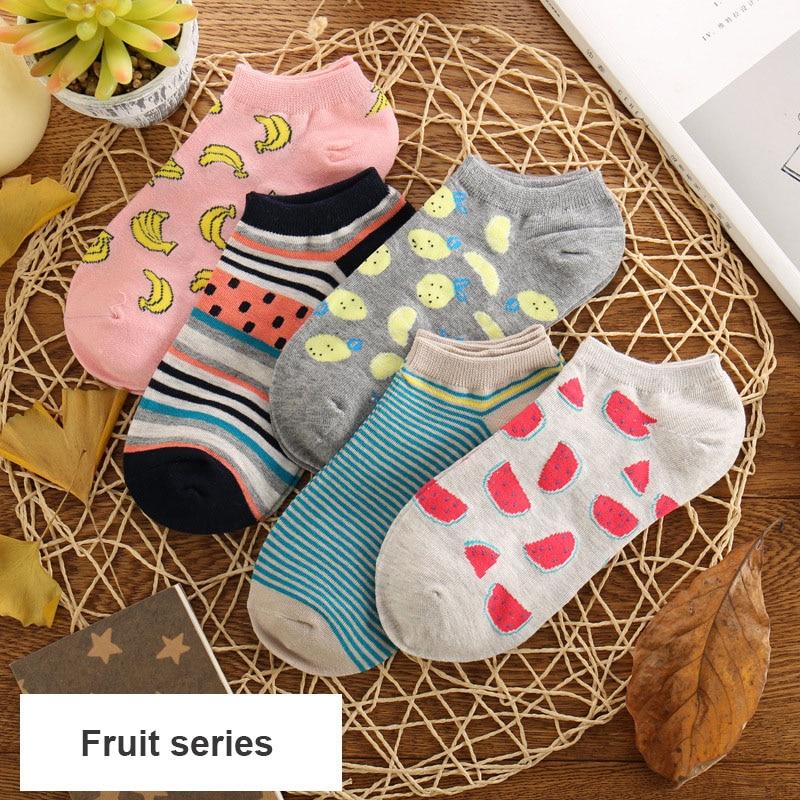 2019 nuevos calcetines de frutas cortas para mujeres de moda y calcetines para adultos con estilo de fruta, mangueras de algodón con sandía de plátano y Dragón