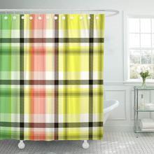 Cortina de ducha escocesa colorida escocesa tejida abstracta verificación británica tela de poliéster impermeable 72x78 pulgadas Set