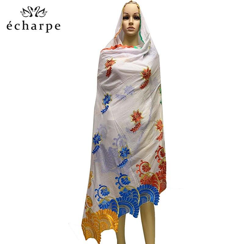 2019 nueva bufanda mujeres africanas, chal de algodón del hinduismo, turbante bordado de moda bufanda del casquillo bordado bufanda 210*110cm EC035