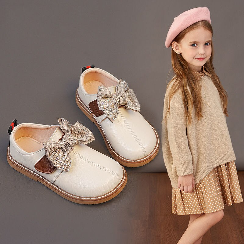 2021 Girls Shoes Princess Shoes PU Leather Shoes Soft Soles Fashion Garden Shoes Kids Spring and Aut