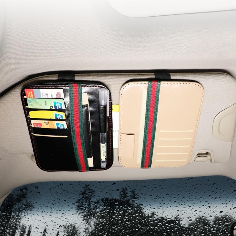 Автомобильный держатель для карт, черный чехол для хранения карт, автомобильный кожаный солнцезащитный козырек, автомобильный держатель д...