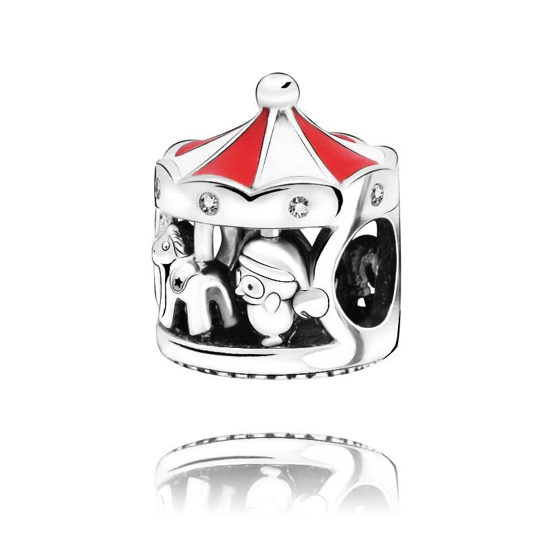 Navidad encanto de cuentas carrusel Navidad encanto fit Original Pandora pulseras de las mujeres de la joyería de DIY