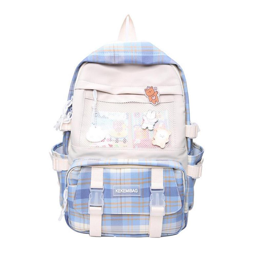 Дамские нейлоновые рюкзаки в клетку унисекс, на воздушной подушке, школьный портфель в Корейском стиле, Молодежные ранцы в стиле Харадзюку ...