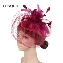 Sombrero elegante hecho a mano de tul para boda, accesorios de malla para novia, tocado de nailon para mujer, sombrero para fiesta y cena para novia