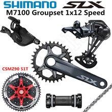 Shimano deore slx m7100 groupset 32t 34t 36t 170 175mm, pedaleira de bicicleta de montanha 1x12 velocidades csmz90 m7100 desviador traseiro