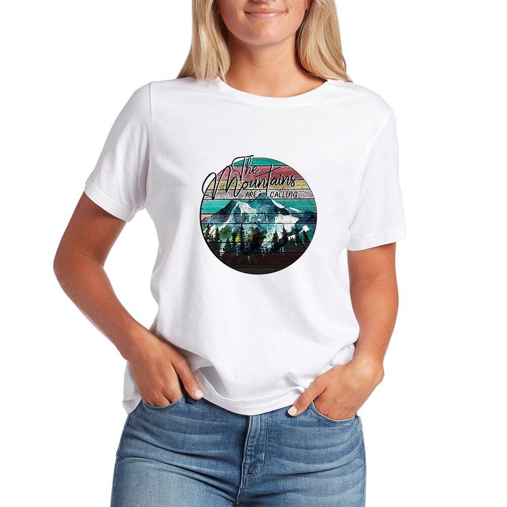 Fashion Versatile Mountain Harajuku T shirt Women Tee shirt Cheap Spring Summer T-shirts футболка женская Round Collar Tshirt