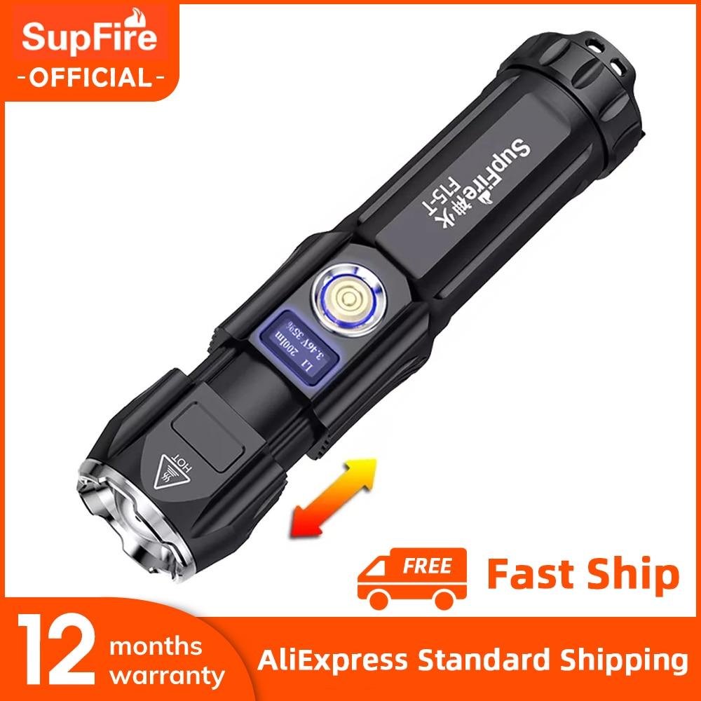 SupFire F15-T كري xhp90 36 واط مصباح يدوي قوي مصباح led فائق الإشراق الشعلة التكبير USB قابلة للشحن متعددة الوظائف التخييم الفانوس
