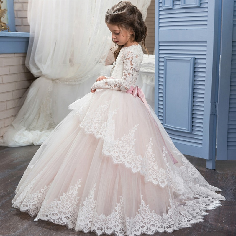 4-14Y White Kids Teenager Pink White Bridesmaid Dress For Girls Children Long Sleeve Lace Princess Backless Party Wedding Dress enlarge