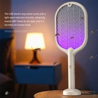 pest racket rechargeable electric fly bug bat led light portable insect control racket beige
