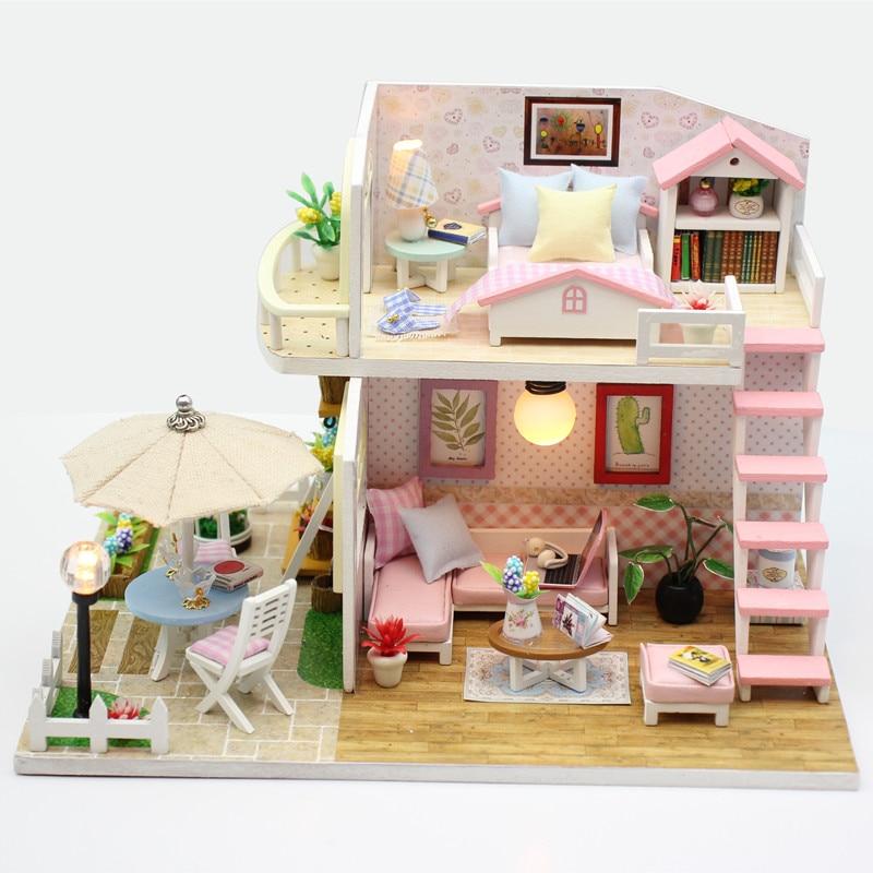 Фото - 3D деревянные миниатюрные игрушки для детей, «сделай сам», кукольный домик, миниатюрный кукольный домик с мебелью, кукольные домики, игрушка,... кукольные домики и мебель наша игрушка игровой набор кукольный домик 12 предметов