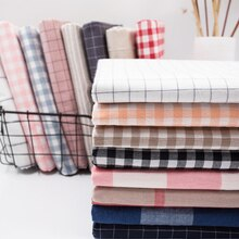 Wash Pure Cotton 100% Fabric for Bed Sheets Quilt Covered Clothing Shirt Grid Striped Plaid Cloth Br