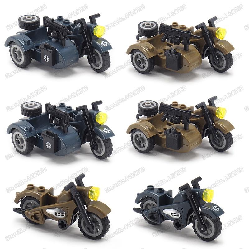Ww2, motocicleta Moc militar de tres balas, herramienta de Alemania, coche, figuras del ejército, vehículo, regalo de Navidad con otro juguete de bloques de construcción