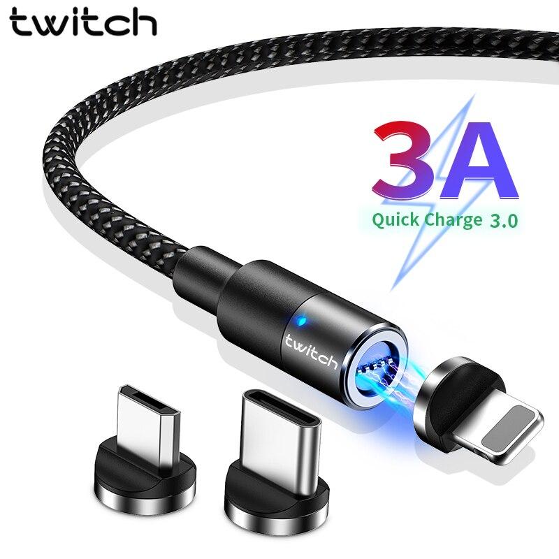 Twitch 3A rapide Micro USB câble magnétique USB Type C câble de données de téléphone de charge pour iphone Samsung Xiaomi type-c chargeur magnétique