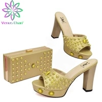 summer golden color elegant women shoes matching bag set pretty nigerian ladies decorate with rhinestone for wedding party