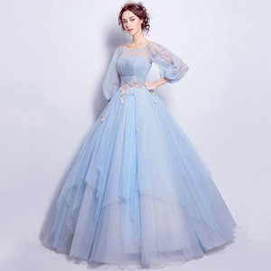 Bule Luxury Evening Dress Illusion O-Neck Lace Tulle Ball Gown Sequined Pleat Crystal Pleat Embroidery Lady Formal Dresses TS249