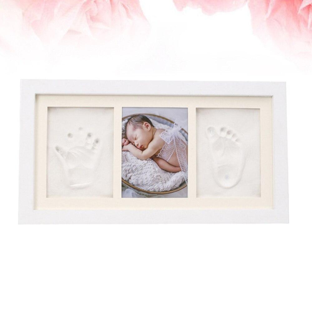Marco de fotos de mano y huellas de patas para bebé marco de fotos de madera soporte de foto creativa decoración de escritorio para el hogar para el dormitorio sala de estar (Whi