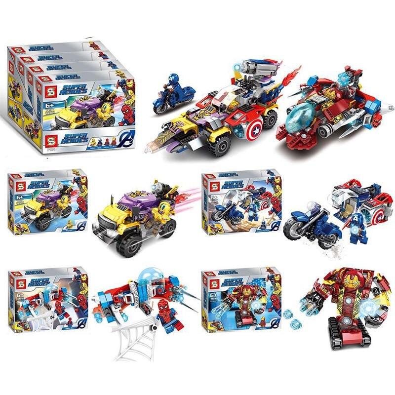 4pcs Ideas Tron iron Man Maste Legacy Super Hero Motorcycles marvel Building Blocks Sets Bricks Kids Toys SuperHeros Movie