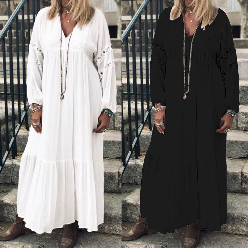 2020 ZANZEA Pllus vestido de mujer de talla grande ahuecado largo maxi Vestidos elegante señora encaje Crochet Ruffles Vestidos bohemios de playa Robe