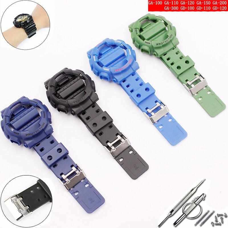 Аксессуары для часов для Casio ремешок из смолы G-SHOCK GA GLS GD 110 100 120 pin Пряжка 16 мм мужской и женский резиновый для спортивных часов чехол