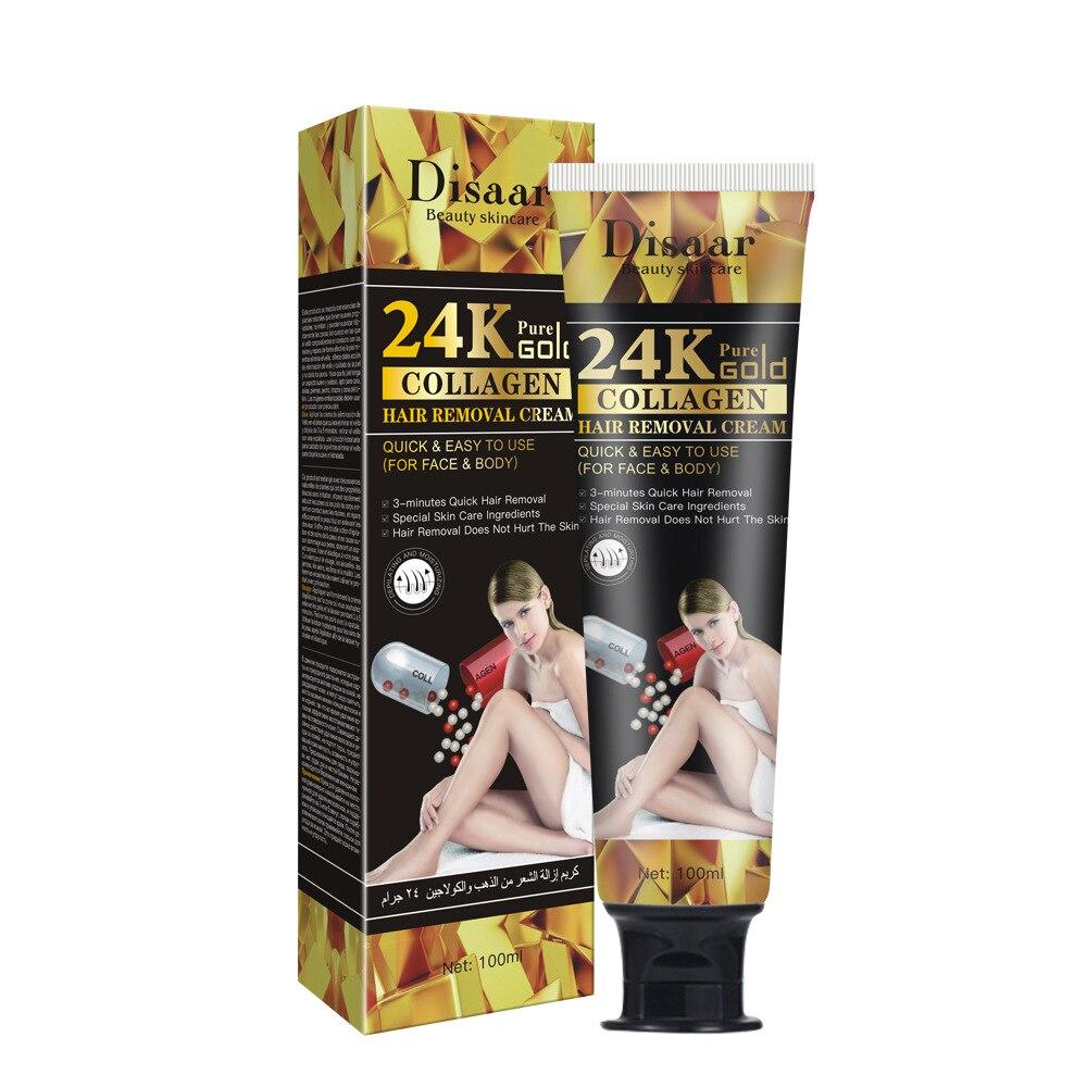 100ml  24K Gold Collagen Hair Removal Cream Hair Removal Gentle Hair Removal Cream for Armpit Thigh Arm Hair Removal