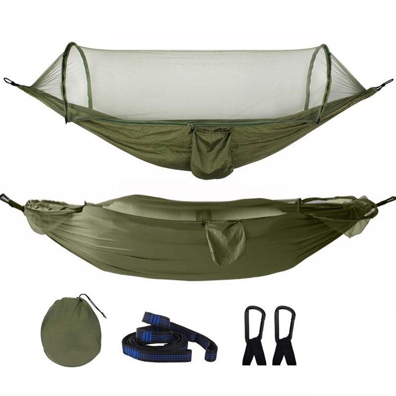 Кемпинговый гамак, подвессветильник йка с москитной сеткой, из парашютной ткани, качающийся спальный гамак, кемпинговые принадлежности