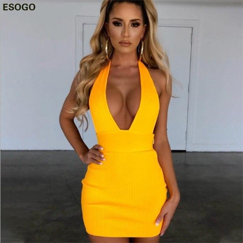Yellow Sexy Deep V Neck Cotton Party Dress Red Backless Halter Slim Elegant Dresses Black Bodycon Sleeveless Woman Summer Dress