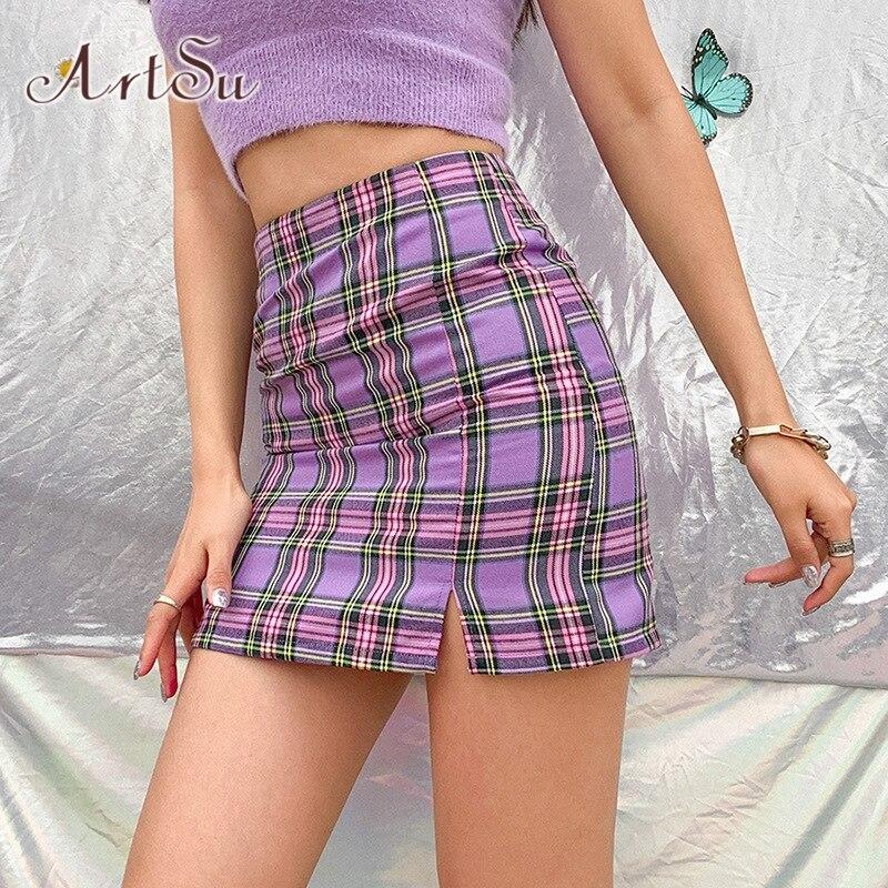 ArtSu Sweet Plaid Mini Skirt for Women Chic High Waist Slit Hem Short Pencil Skirts Vintage Summer Y2K Bottom New 2020 ASSK52002