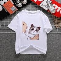 harajuku kiss cats women tshirts aesthetic shirt ullzang vintage 90s tshirt new fashion top tees female tumblr clothing