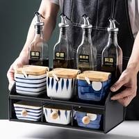 ceramic japanese style spice rack salt and sugar luxury pepper oil vinegar bottles spice rack storage especiero kitchen tools 50