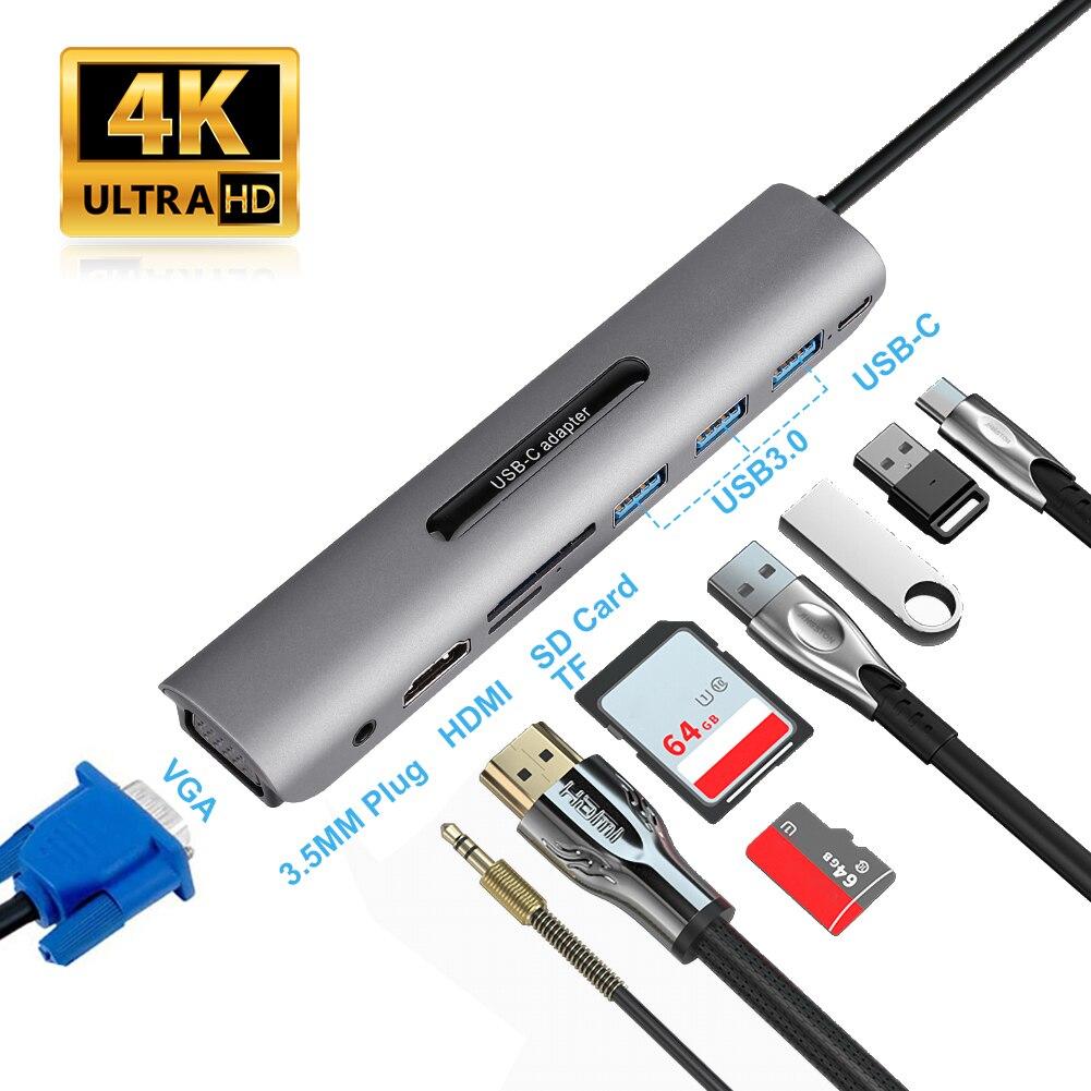 9 puertos USB C a HDMI VGA RJ45 Gigabit Ethernet adaptador de alimentación de muelle de cargador de MacBook Pro aire de tipo C HUB