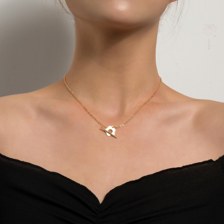 Jcymong novo simples ouro prata cor flor forma gargantilha colar para as mulheres 2021 moda ot fivela clavícula chian jóias femininas