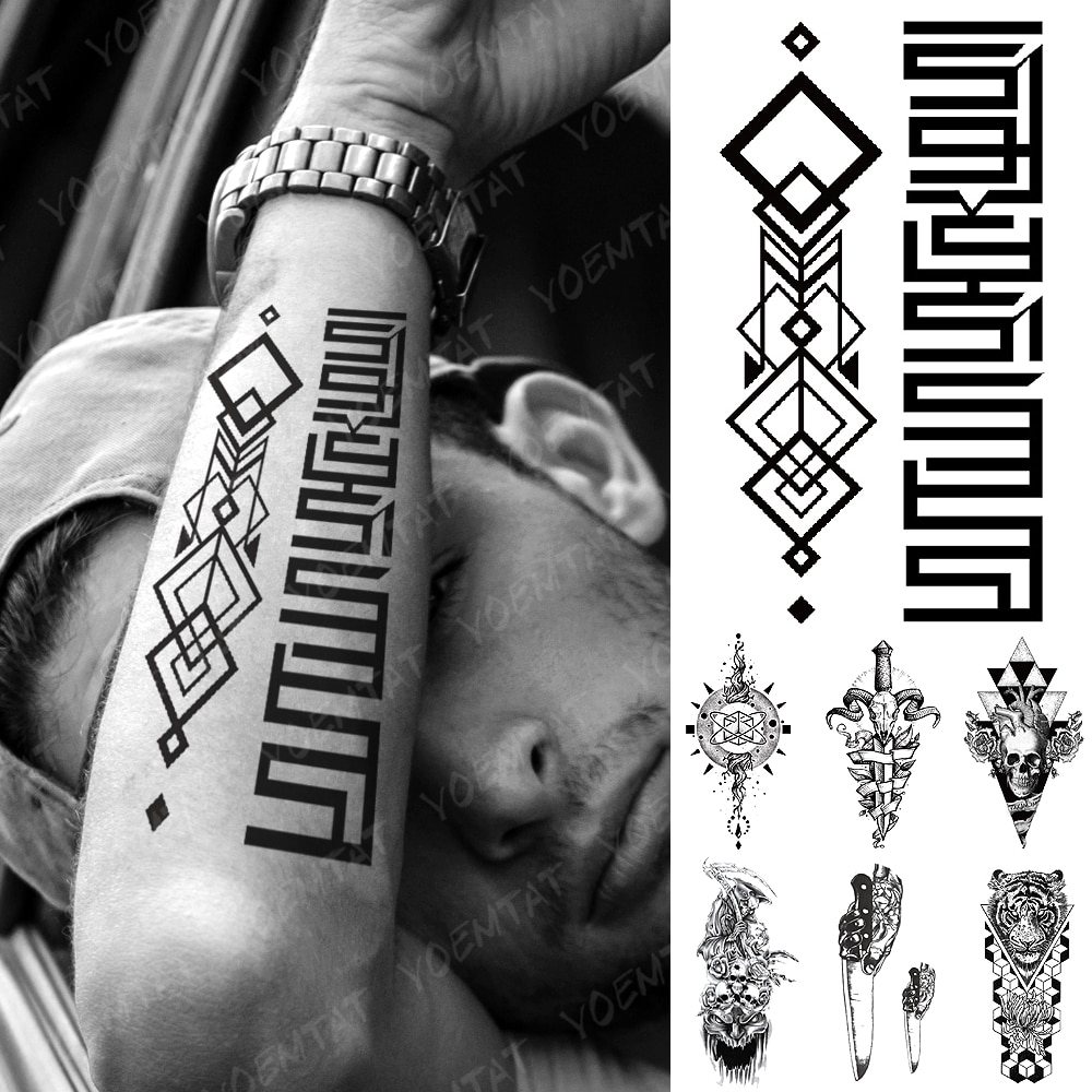 Waterproof Temporary Tattoo Sticker Black Square Totem Flash Tattoos Tiger Stereo Totem Body Art Arm Fake Tatoo Women Men