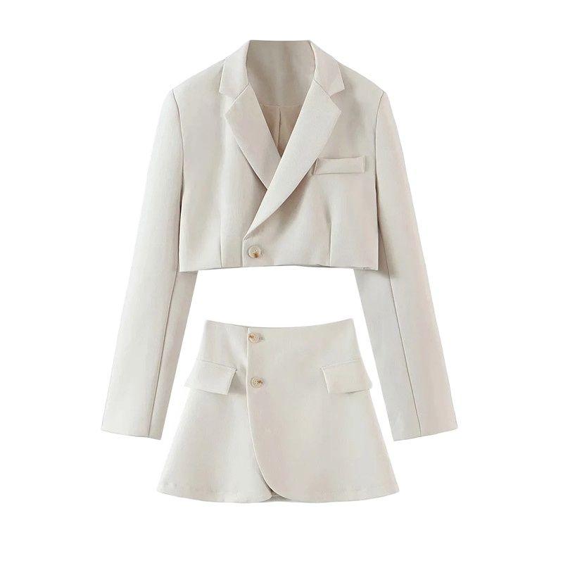 2021 Matching Set Blazer And Skirts Women England style Navel Exposed Short Empire Feminino Femme Two Piece