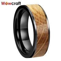 8mm tungsten carbide steel rings for men women wedding bands black plated flat shape whiskey barrel inlay comfort fit