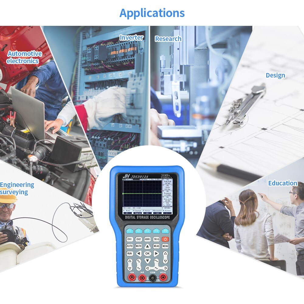Multímetro de 2 canales de almacenamiento Digital portátil multifuncional, medidor de alcance de 30MHz, 250MSA/s con generador de señal