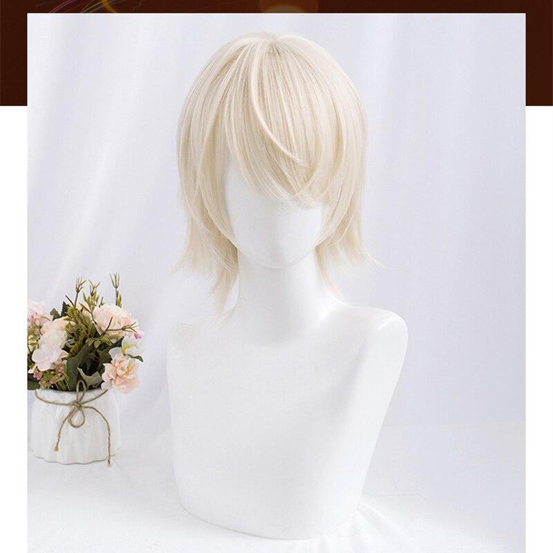 Pale Blonde Harajuku Mullet Wig Prince Lolita Neutral Gender Beige Golden Short Curly Hair Ends Adult Girls Women Men Cosplay
