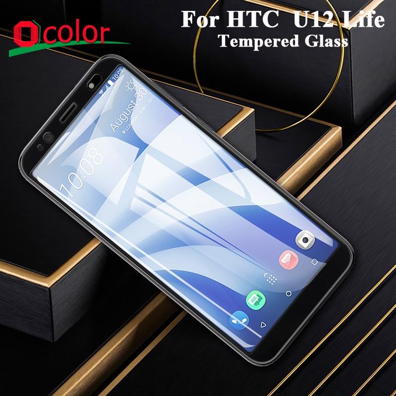 Ocolor para HTC U12 Life Protector de pantalla de vidrio templado ultrafino frontal para HTC U12 película protectora de vida