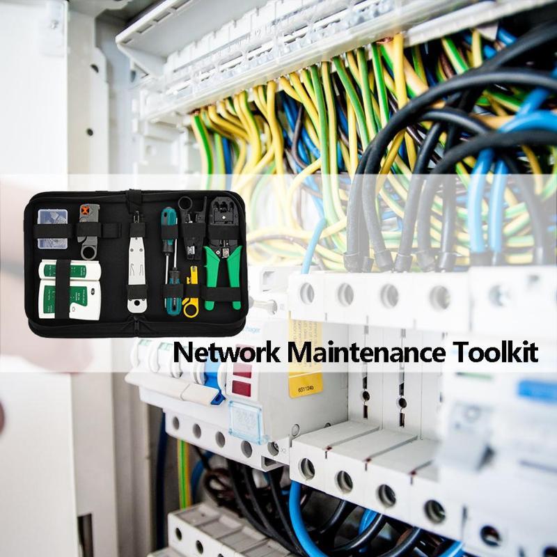 12 unids/set RJ45 RJ11 RJ12 portátil red LAN Kit de herramienta de la reparación de Cable Utp Tester y alicates crimpado Crimper macho pinza para PC