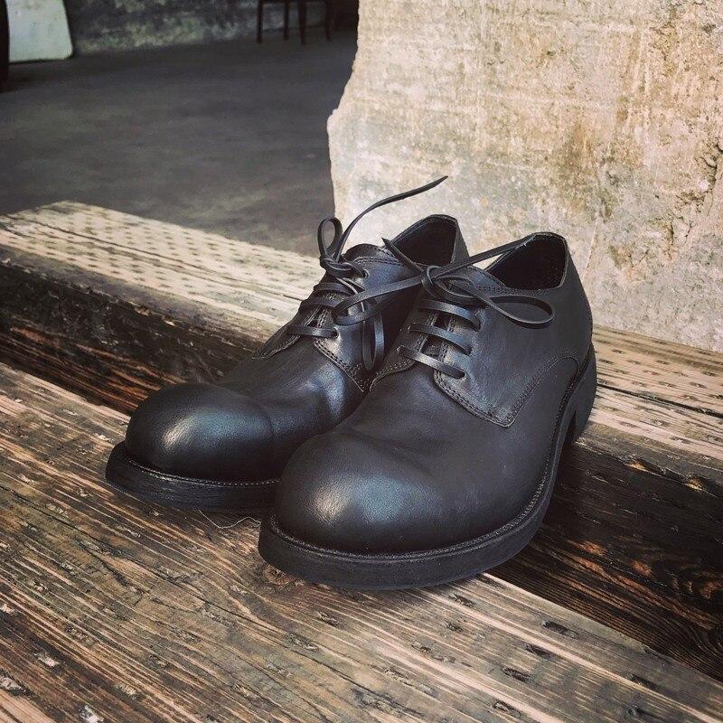أحذية جلدية أصلية للرجال ، أحذية فاخرة غير رسمية مصنوعة يدويًا من جلد الحصان بمقدمة مستديرة ، أحذية كلاسيكية ذات علامة تجارية مع أربطة أمان ل...
