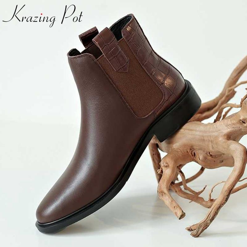 Krazing pot cuero de vaca slip on ropa básica Chelsea botas punta redonda gingham imprime tacones bajos francés romance botines l62