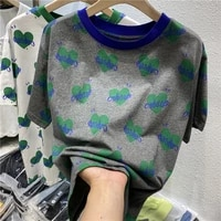 cotton 2021 summer new half sleeve top design color matching heart printing loose short sleeve t shirt for women