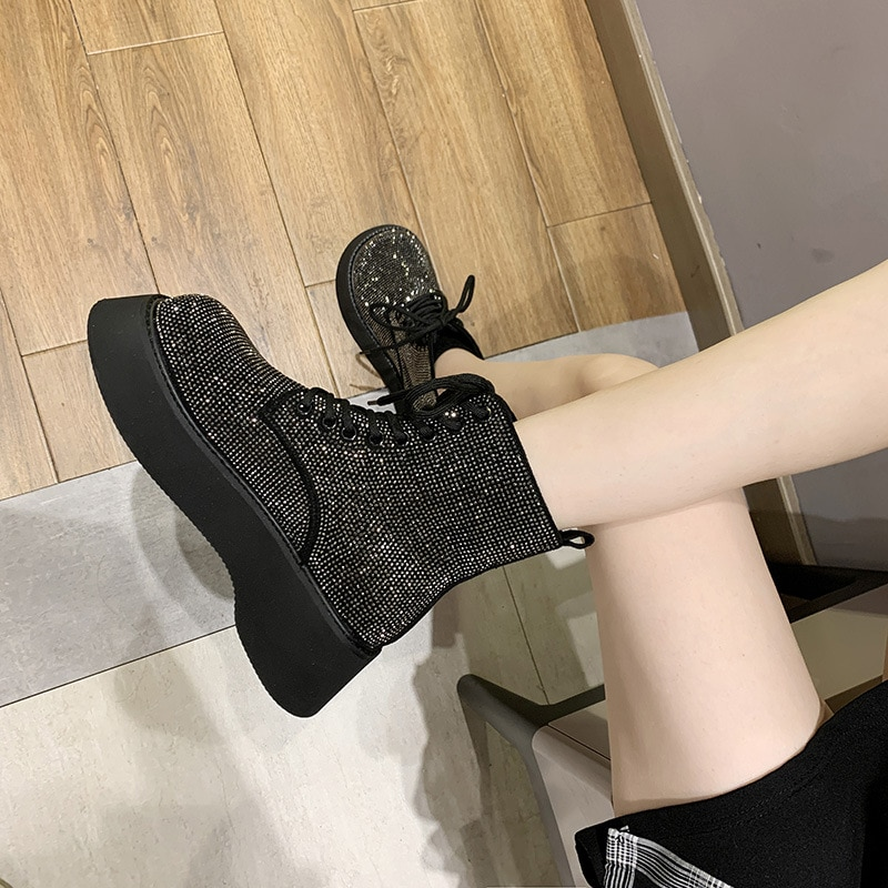 Winter Female Australian Style Ankle Boot Silver Snow Boots Rhinestones Crystal Shiny Flash Bling Women Girl Fur Martin Boots