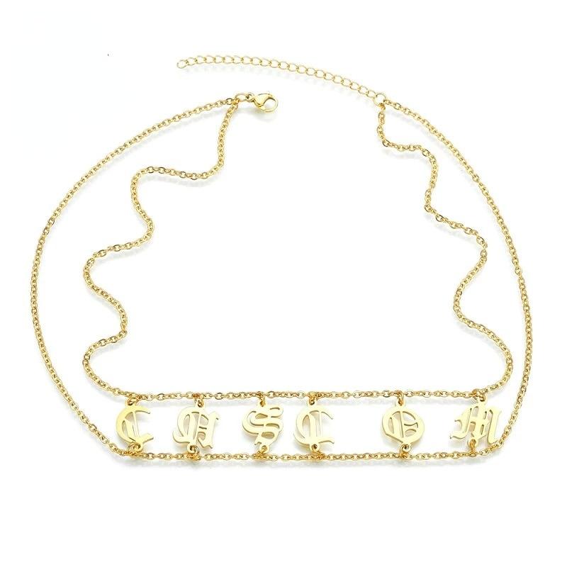 Двойное ожерелье «сделай сам» с надписью на заказ, ожерелья с именем в стиле панк из нержавеющей стали на заказ, ожерелье с надписью на англи...