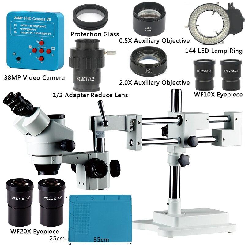 3.5 simu90x simull focal trinocular zoom microscópio + 38mp 2 k hdmi microscópio câmera duplo crescimento suporte para pcb reparação de soldagem