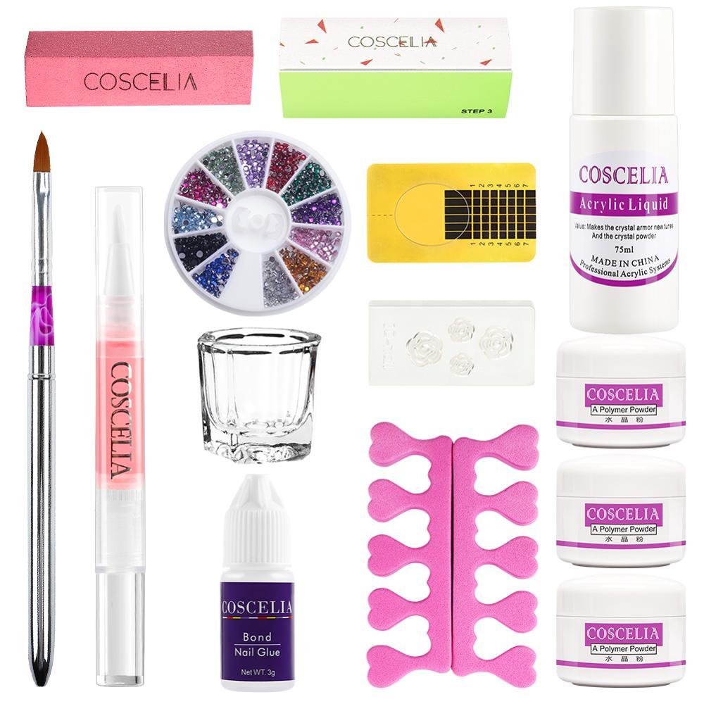 COSCELIA Acrylic Powder Set For Beginner Nail Cover Crystal liquid Portable Acrylic All For Manicure Nail Glitter Nail Art Tools