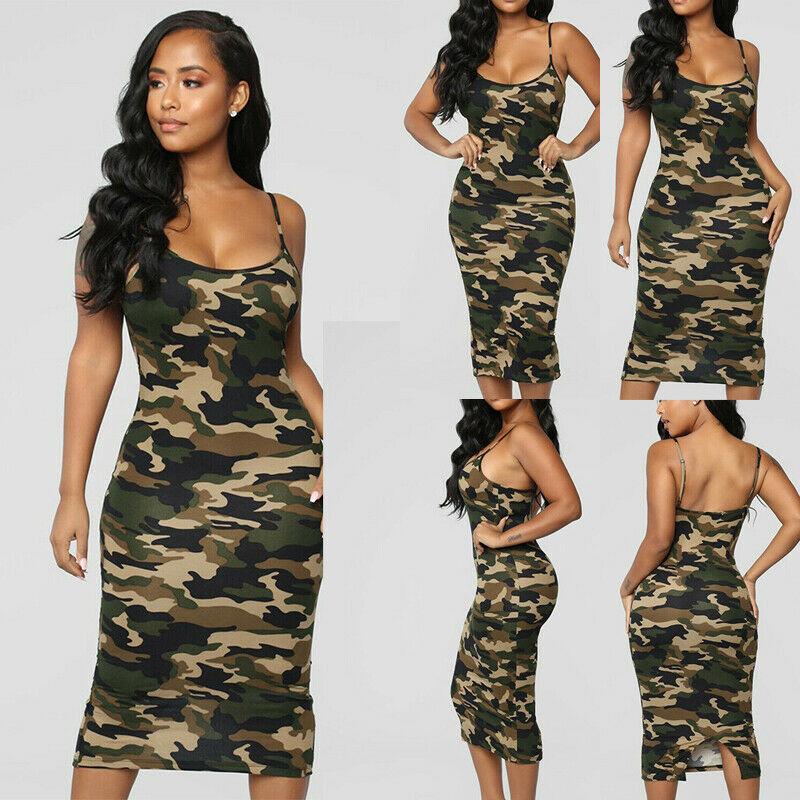 Women Casual Bodycon Sleeveless Dress Summer Ladies Backless Empire Waistline Camo Print Military Army Pencil Dresses empire waist tartan print slip dress