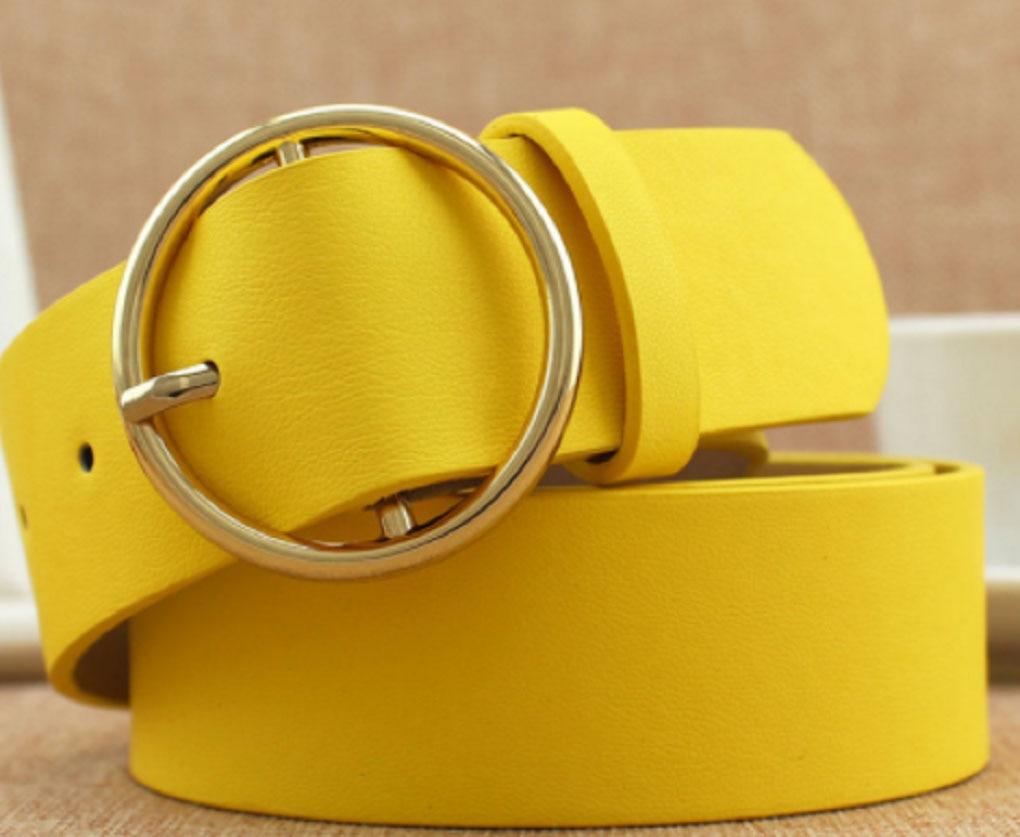 Vintage Yellow Metal Belt for Women Lady Strap Female Pin Buckle Fashion Embossing Belts